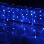 Светодиодная бахрома Айсикл, эффект мерцания, синий
