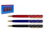 Ручка металлическая МС-1268 пов. мех., цветн.корпус,серебр.насечка, золотой клип и наконечник